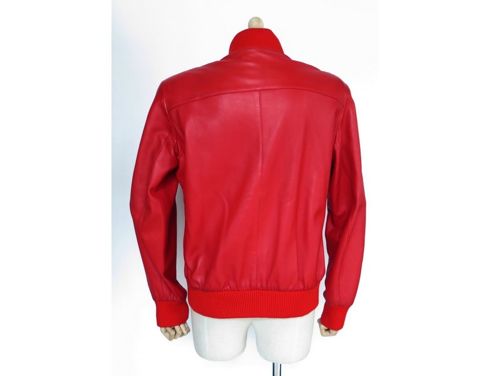 Veste femme en cuir rouge