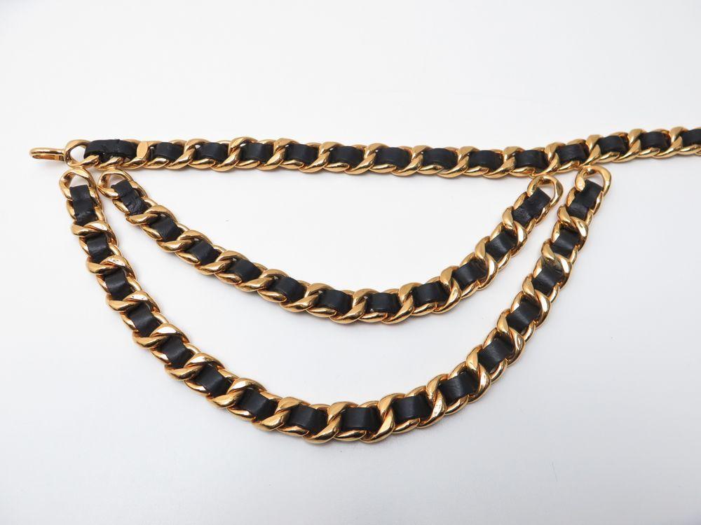 cba03ef323b ceinture chanel chaine logo cc t 75 85 en metal dore