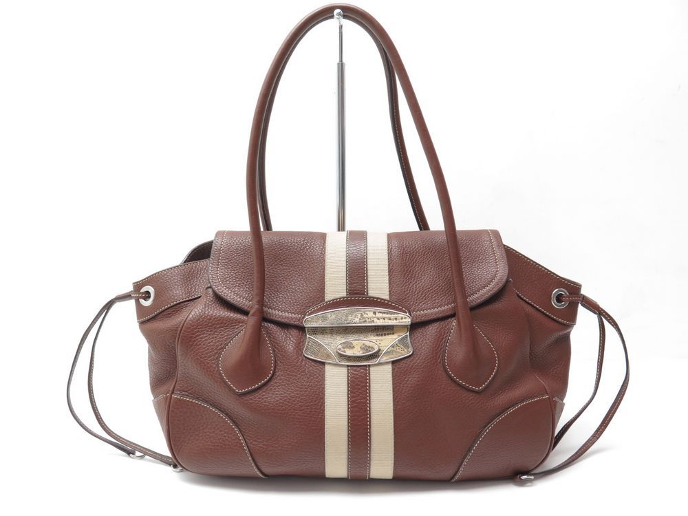 b622b8ed717 sac a main prada en cuir graine marron fermoir en