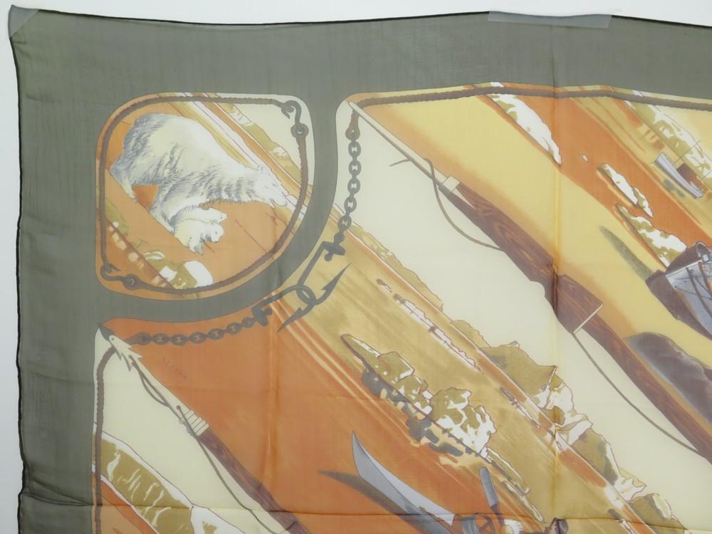 7d3d9e16d539 NEUF FOULARD HERMES GRONLAND GROENLAND EN MOUSSELINE DE SOIE CARRE 90 LEDOUX