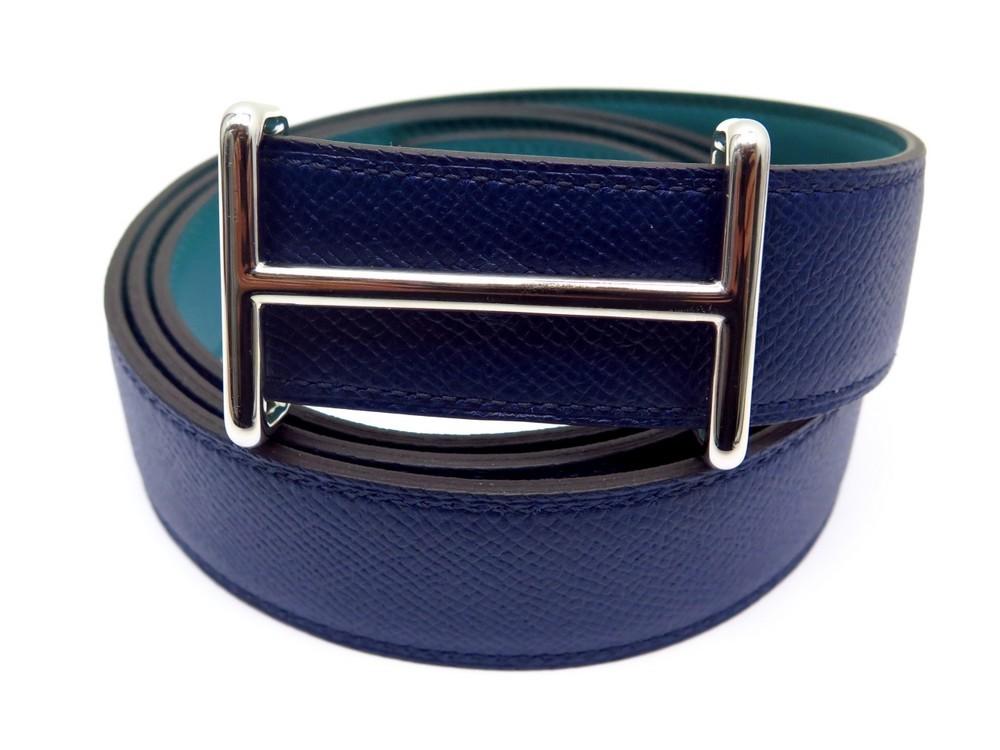 1b390ee0860c ceinture hermes reversible t 110 cuir bleu