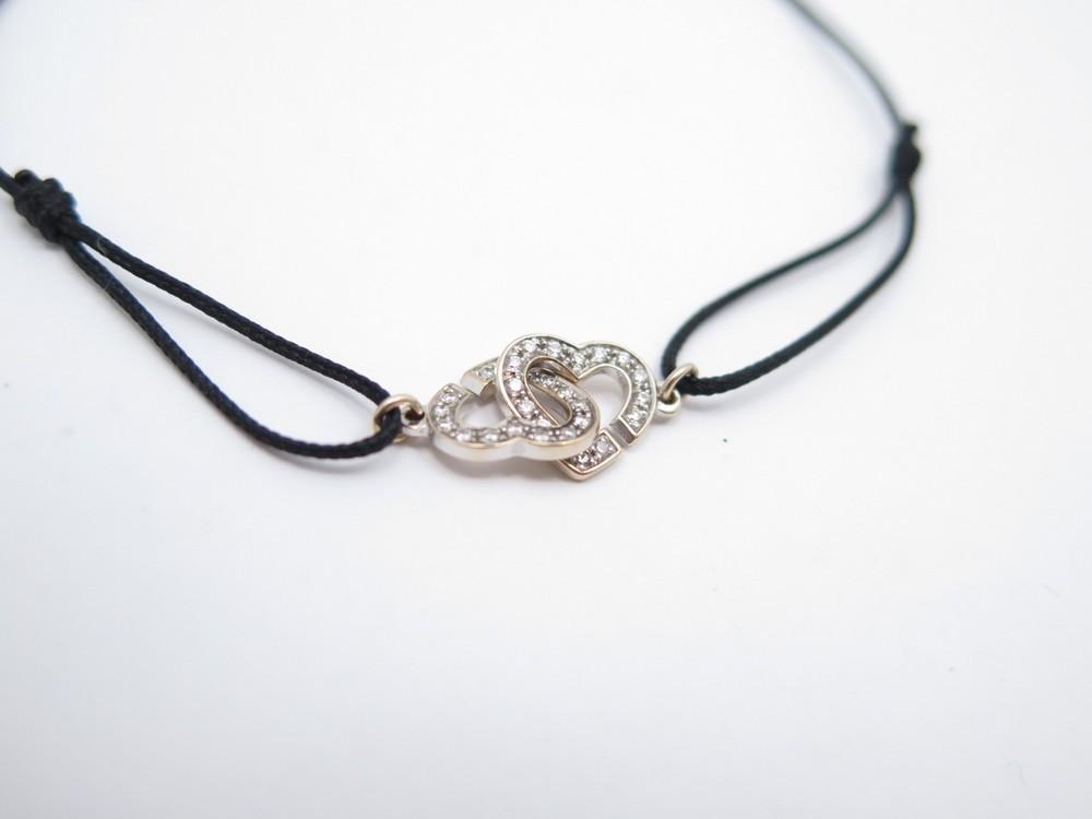 cb04d869291 bracelet sur cordon dinh van double coeur r9 or blanc