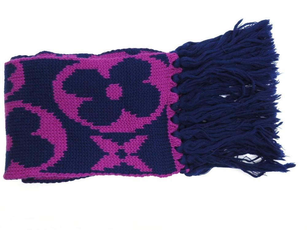 bonnet echarpe louis vuitton monogram en laine bleu b0f135c9f96