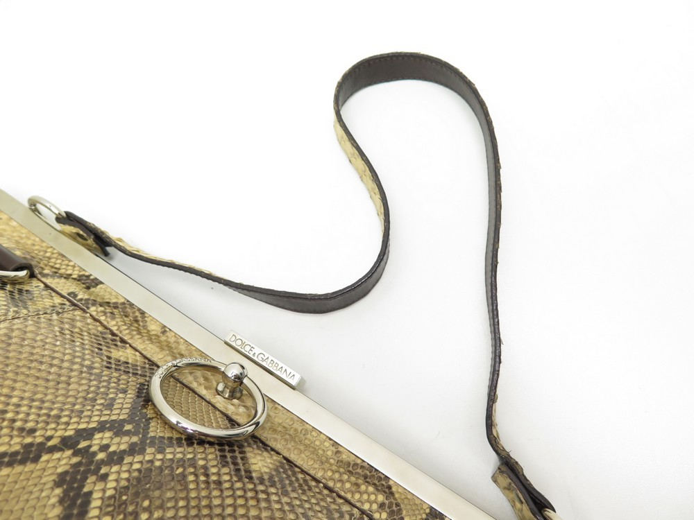 2b8dd4be98 Loading zoom. Previous. SAC A MAIN DOLCE AND GABBANA 41CM EN PYTHON BEIGE  EXOTIC LEATHER HAND BAG PURSE. Next